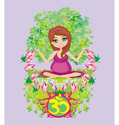 pregnant girl sits and meditatesabstract card vector image