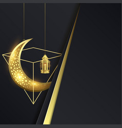 ramadan kareem with lantern and moon vector image