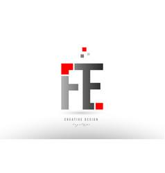 Red grey alphabet letter fe f e logo combination vector