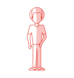 Red silhouette shading caricature faceles body man vector
