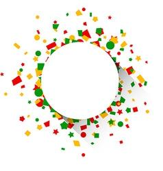 Round paper card over confetti vector