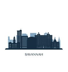 Savannah skyline monochrome silhouette vector