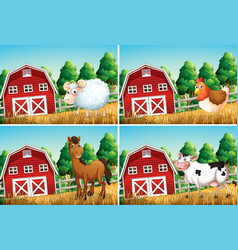 set animal in farm vector image