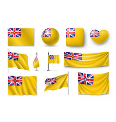 set niue realistic flags banners banners vector image