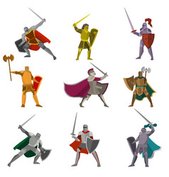 set of color knights in different poses hand axes vector image