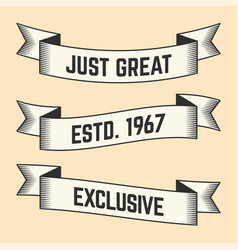 Set of trendy vintage ribbons banners vector