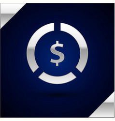 Silver coin money with dollar symbol icon isolated vector