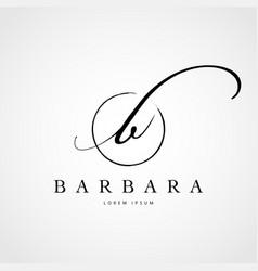 simple elegant initial letter b logo type sign vector image