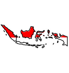 Simplified map of indonesia outline with slightly vector