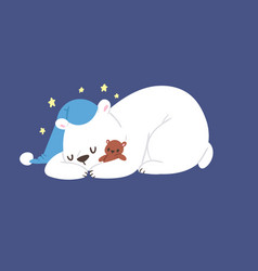 sleeping polar white bear animal cute vector image