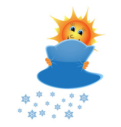 Sun and snowflakes from clouds vector
