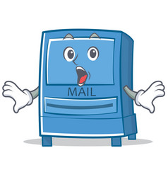 surprised mailbox character cartoon style vector image