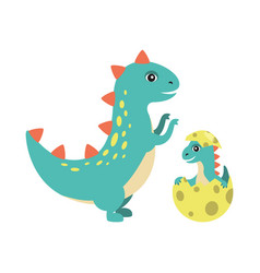 T-rex and kid in egg image vector