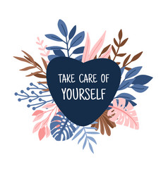 take care heart with branches vector image