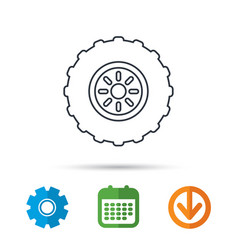tractor wheel icon tire service sign vector image