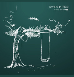 tree with swing hand draw vector image