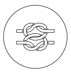 Two nautical knots ropes wire with loop twisted vector