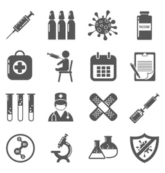 Vaccinations black icons set vector image
