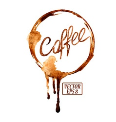 Watercolor emblem with coffee stains vector