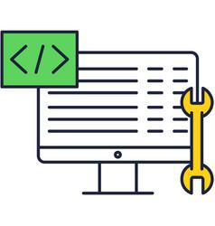 Web development back end flat icon vector