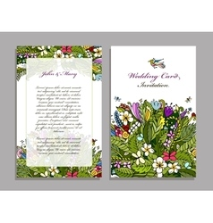 Wedding card template tropical design vector