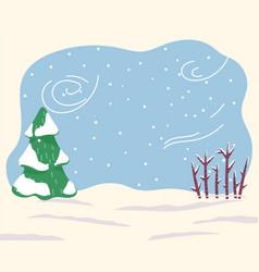 Winter weather blizzard in forest snowy ground vector