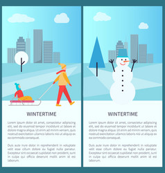 Wintertime placards with text vector
