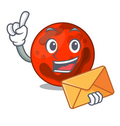 With envelope mars planet character cartoon vector