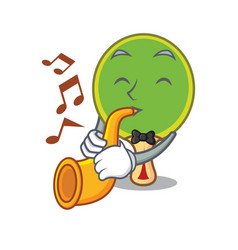with trumpet ping pong racket mascot cartoon vector image