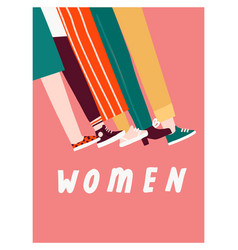 Women day 8 march card or poster with women vector