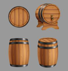 Wooden barrels containers for alcohol liquids vector