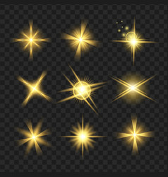 yellow shine stars with glitters sparkles icons vector image