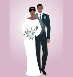 young afro couple of newlyweds wearing wedding vector image