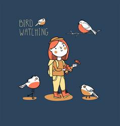 Young girl bird watching birding and ornithology vector
