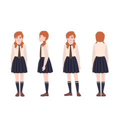 Young redhead girl dressed in school uniform vector