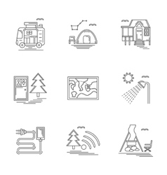 Linear icons set for camping vector image vector image