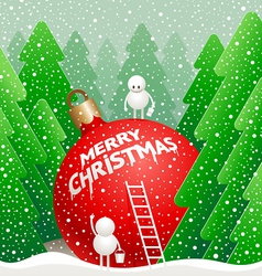 little cute snowman vector image