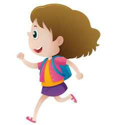 little girl with blue backpack running vector image