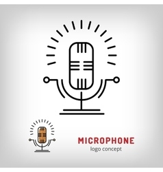Microphone isolated line art icon Modern vector image vector image