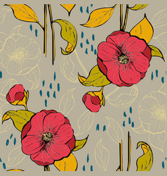 seamless pattern with floral design vector image vector image