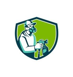 Spray Paint Gun Painter Spraying Shield Retro vector image