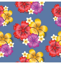 Tropical flowers seamless pattern background vector image