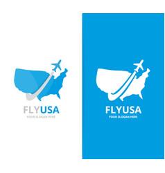 usa and plane logo combination america vector image vector image