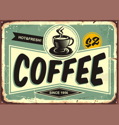 coffee shop vintage tin sign vector image vector image