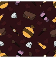 Pattern with different cosmetic and objects vector image vector image