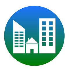 real estate sign white icon in bluish vector image