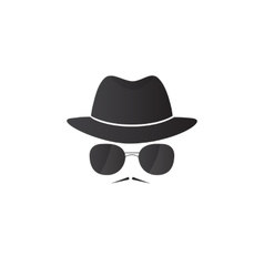 Unknown man in hat and glasses with a mustache vector image vector image