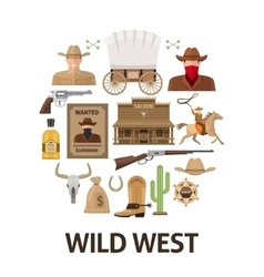 Wild West Round Composition vector image vector image