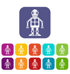 Artificial intelligence concept icons set flat vector