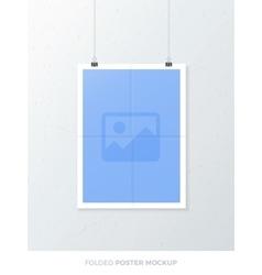 Folded poster mockup vector
